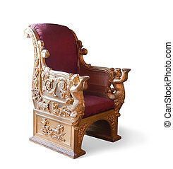 Golden Throne. Isolated on white with clipping path - Golden...