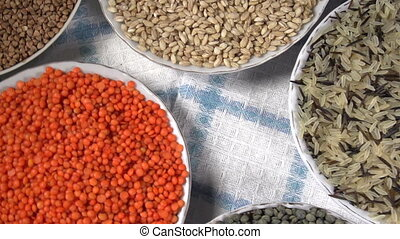 Crop of Cereals and Legumes - The camera moves past the...