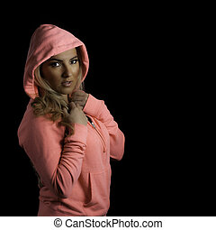 Blonde Athletic Girl Pink Hoodie Isolated Black Background -...