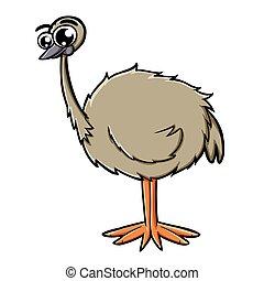 cute emu - illustration of a cute baby bird emu bigeye