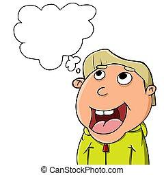 imagine - illustration of a boy who is imagining something