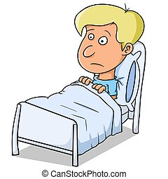 being sick - illustration of a sick child hospitalized