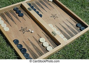 backgammon on grass