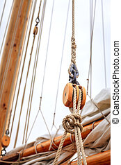 Sailboat rigging - Mast of a large sailing boat and details...