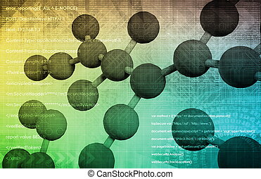Science Research Background with Moving Data Art