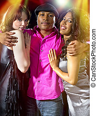 Playboy at Nightclub - charming single man with two women at...