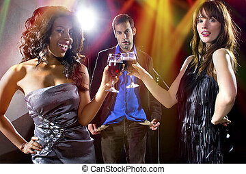 Gold Diggers at a Nightclub - women seducing a man to buy...