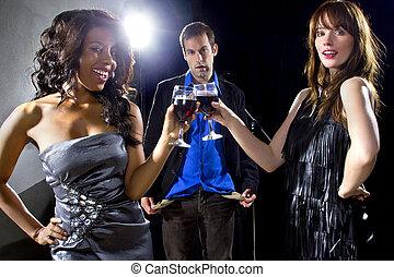 Gold Diggers at a Nightclub - women seducing a man to buy...