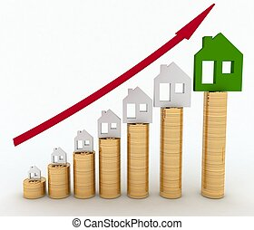 Diagram of growth in real estate prices 3d illustration on...