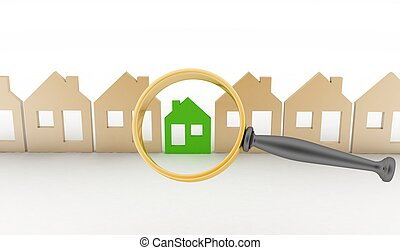 Magnifying glass selects or inspects a eco-home in a row of...