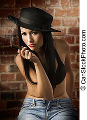 chinese girl with hat and cigar - beautiful asian girl...