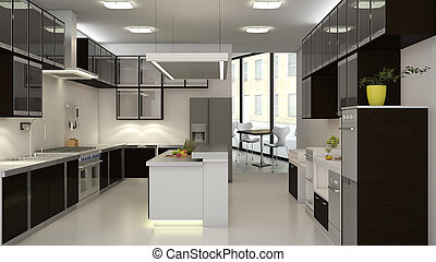 Restaurant Kitchen - 3d interior of backroom kitchen in a...