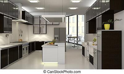 Restaurant Kitchen - 3d interior of backroom kitchen in a...