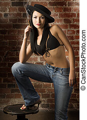 asian girl in jeans and bra - beautiful asian girl wearing a...