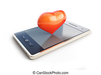 mobile phone with a heart on the couch 3d illustrations on a...