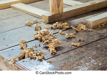 wood shavings on table of the carpenter