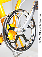 Close up of bicycle chainrings.