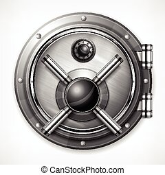 Bank vault on white - Bank round metallic vault on white,...