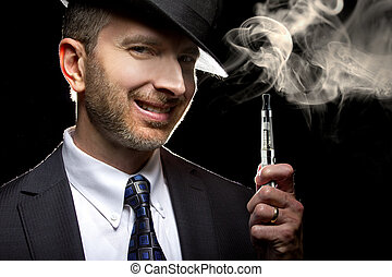Male Vaping with E-Cigarette - male smoking a vapor...