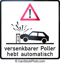 Immersible Bollard - German warning sign: immersible bollard...