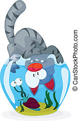 Cat and snail - A funny cartoon cat is looking at a snail.