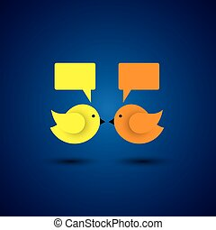 vector icon of two little birds communicating with each...