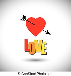 human heart icon and love words and arrow - simple vector...