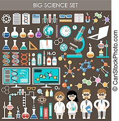 Big science set Infographics Flat design style Vector...