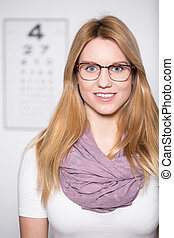 Blonde girl wearing glasses - Portrait of blonde attractive...