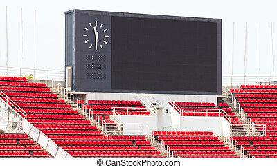 Scoreboard at stadium.