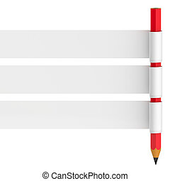 Abstract banner with pencil isolated on white background.