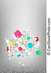 cubes flying - flying cubes background vector illustration...