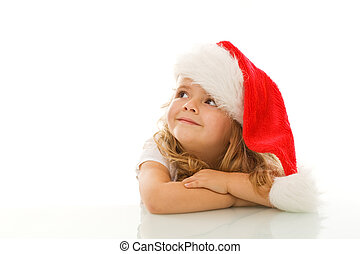 What I wish for Christmas is - Happy little girl waiting for...
