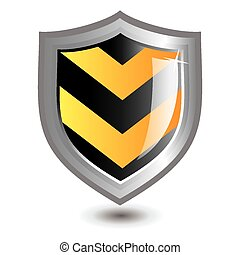Vector illustration of black and yellow striped shield...