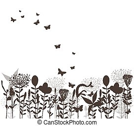 grass and butterflies vector black silhuette