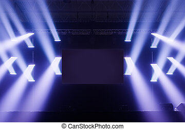 Spot lights Stage With Blank Screen in the Middle