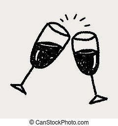 Cheers Wine Glass Toast Sketch Stock Illustration - Hot ...
