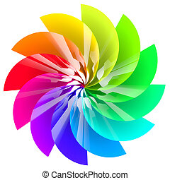 Colorful abstract flower isolated on white background.