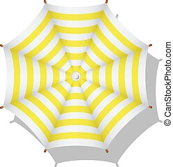 Beach umbrella - Yellow and white striped beach umbrella on...