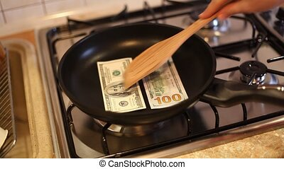 dollar bills - In a frying pan fry dollar bills. HD video