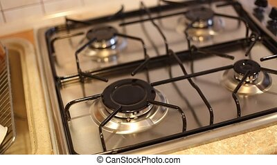 gas stove - Gas burners are lit on a gas stove HD video