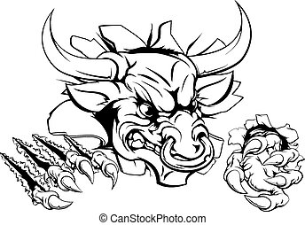 Bull monster smashing through wall - Bull or Minotaur...