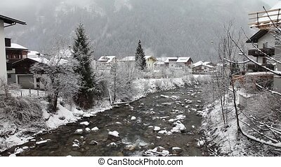 Ziller river in winter Mayrhofen, - Zillertal Valley in...