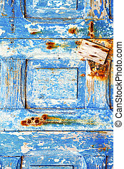 blue stripped paint in   rusty nail
