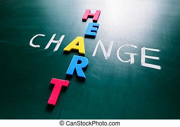 Change heart concept on blackboard