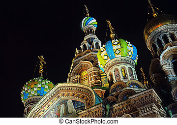 Church on Spilled Blood - Night and close view of Church on...