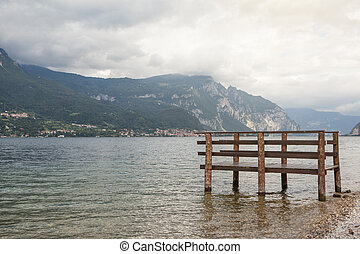 Boat dock on Como lake in Italy