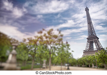 Eiffel tower in Paris, France Tilt shift image - Eiffel...