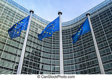 European Union flags near European commission - European...