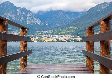 Boat dock on Como lake in Italy - Beautiful view of boat...
